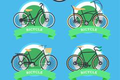 4款绿色单车标签矢量素材