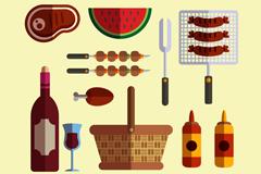 12款扁平化烧烤派对食物和用品矢量图