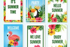 6款彩色热带夏季卡片矢量素材