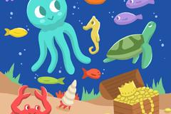卡通海底世界动物和宝藏插画矢量图