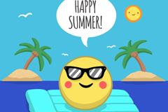卡通海上度假的夏日太阳矢量素材
