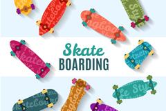 10款彩色滑板设计矢量素材