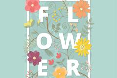 创意花朵艺术字矢量素材