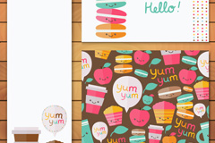 3款扁平化可爱甜品卡片矢量素材
