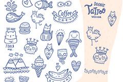 26款可爱纹身图案设计矢量图