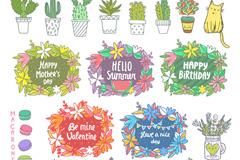 16款彩绘盆栽和5款节日标签矢量图