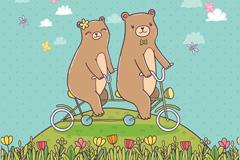 郊外骑双人自行车的情侣熊矢量图
