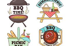 4款手绘烧烤和野餐徽章矢量图