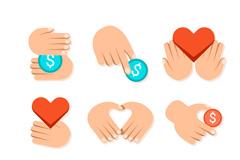 9款创意手与爱心慈善标志矢量图