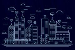 创意智慧城市建筑风景矢量图