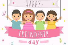 卡通国际友谊日4个人物矢量素材