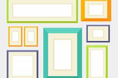 8款彩色照片墙相框矢量图