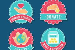 4款彩色慈善捐款标签矢量图