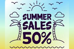 彩绘夏季半价促销海报矢量素材