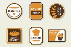 6款创意面包店标签矢量图