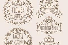 5款手绘花纹照相馆标签矢量图
