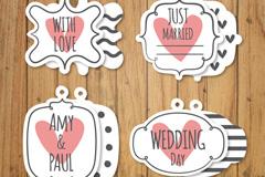 4款创意婚礼标签正反面矢量图