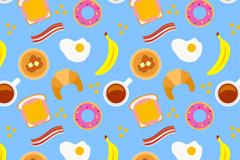 彩色早餐食品无缝背景矢量图