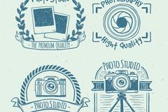 4款手绘摄影棚标签矢量素材