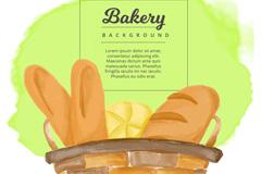 彩绘装满篮子的面包矢量素材