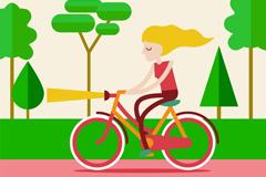 郊外骑单车的金发女子矢量素材