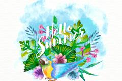 水彩绘夏季花卉和鹦鹉矢量素材