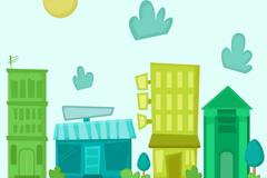 卡通清新蓝绿色街边建筑设计矢量素材