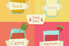 4款新鲜果汁饮品设计矢量素材