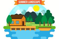 夏季度假湖边木屋风景矢量素材