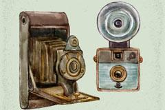 2款手绘复古照相机设计矢量素材