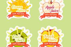 4款彩色新鲜水果果汁标签矢量图