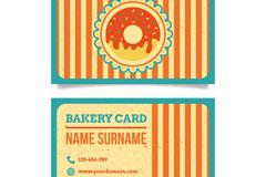 彩色甜甜圈面包店名片矢量图
