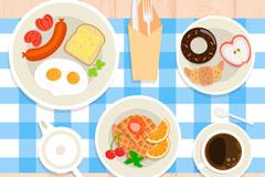 美味丰盛早餐俯视图矢量素材