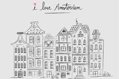 手绘荷兰阿姆斯特丹建筑矢量素材