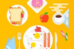 6款扁平化美味早餐矢量素材