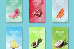 6款水彩绘水果卡片矢量素材