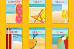 6款彩色夏季度假卡片矢量素材