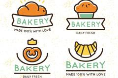 4款彩色面包店标签矢量w88优德