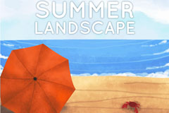 夏季沙滩遮阳伞和螃蟹矢量图