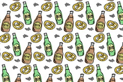 彩绘啤酒和面包无缝背景矢量图