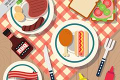 早餐食物俯视图设计矢量素材
