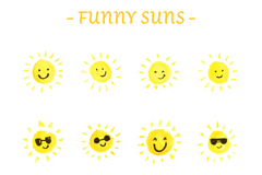 12款手绘趣味太阳表情矢量素材