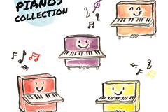 4款可爱卡通彩绘钢琴矢量素材