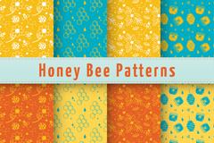 8款彩色蜜蜂元素无缝背景矢量图