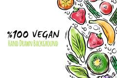 彩绘纯素食主义水果和蔬菜矢量素材