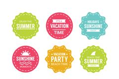 9款清新彩色夏季度假标签矢量图