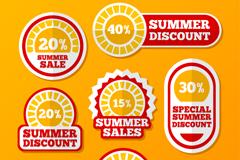 6款红橙配色创意夏季折扣标签矢量素材
