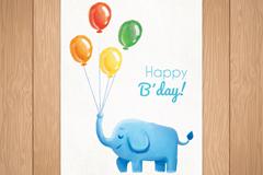 彩绘气球束和大象生日贺卡矢量图