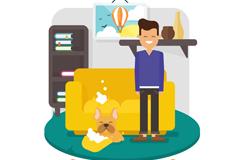 卡通客厅里的男子和闯祸的宠物狗矢量图