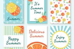 6款彩绘夏季柠檬片卡片矢量图